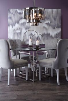 Elegance Diner - dining chair in purple velvet, finished with ...