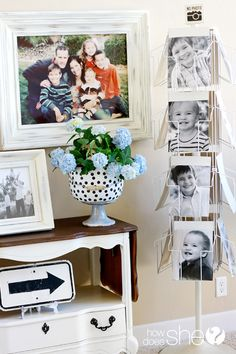 Really love using an old magazine rack to display pics!