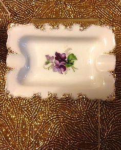 2 Fancy Halsey Import Co China Purple Pansy Floral Pattern Footed Dishes C1953 | eBay