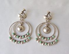 Vintage Turquoise Sterling Silver Earrings Silver by cynthiasattic
