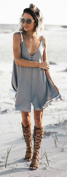 button up dress and lace up sandals