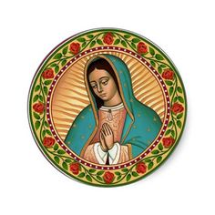 Our Lady of Guadalupe Round Sticker - Para playera - Best Tattoo Ideas Virgin Mary Art, Blessed Virgin Mary, Mary Tattoo, Pride Tattoo, Love Store, Blessed Mother, Mother Mary, Art Drawings Sketches, Religious Art