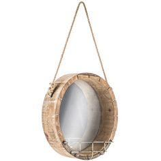 Round Wood Wall Mirror with Wire Rack-Boys' Bathroom Round Mirror With Rope, Round Mirrors, Home Decor Mirrors, Wall Decor, Lake Bathroom, Wire Racks, Entryway Wall, Venetian Mirrors, Basement Remodeling