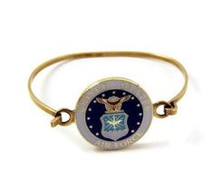 US Air Force Emblem Pin Antiqued Brass Bracelet - Mom Wife Fiance Girlfriend Volunteer Airman Veteran Retirement Remembrance Jewelry Gift by ButtonPressed on Etsy