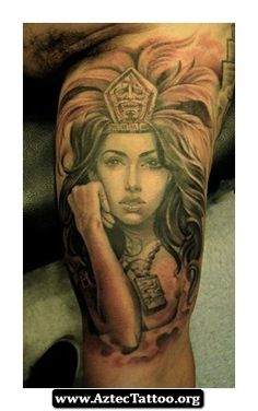 Aztec Woman Warrior Tattoos 04 - http://aztectattoo.org/aztec-woman-warrior-tattoos-04/