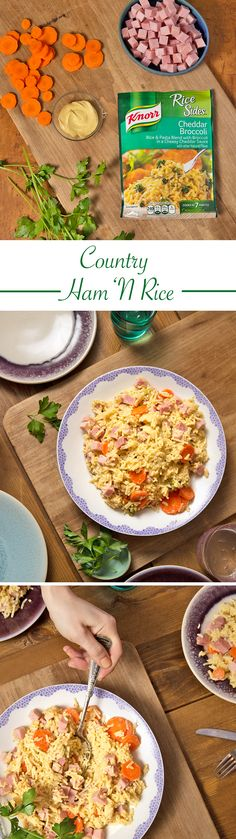 This Country Ham 'N Rice recipe combines all of your favorite ingredients for a 20 minute dinner winner! 1. Bring water, Knorr® Rice Sides™ - Cheddar Broccoli and carrots to a boil. 2. Reduce heat to low and stir occasionally, until rice is tender. 3. Stir in ham and mustard; heat through.