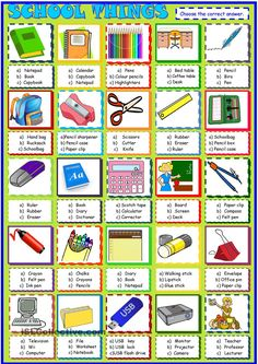 School things, a multiple choice activity: ESL printable worksheet of the day on August 27, 2015 by sylviepieddaignel