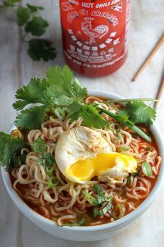 20-Minute Spicy Sriracha Ramen Noodle Soup. We loved this, but it's too spicy. Use 1/2 the Sriracha. Add mushrooms to mine and shredded chicken to David's.