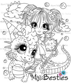 Adorbs Dragons TM Moon Coloring Pages, Animal Coloring Pages, Adult Coloring Pages, Coloring Books, Black Cat Art, Digi Stamps, Drawing For Kids, Christmas Colors, Big Eyes