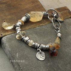 OFF Raw sterling silver & citrine bracelet Handmade Wire Jewelry, Handmade Sterling Silver, Metal Jewelry, Sterling Silver Jewelry, Beaded Jewelry, Jewellery, Fall Jewelry, Fashion Bracelets, Jewelry Making