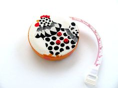 Tape Measure Chickens Retractable Pocket by AllAboutTheButtons
