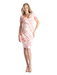 Seraphine A Pea in the Pod Tangerine Pink Short Sleeve Maternity Dress