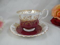 "Vintage English Bone China Royal Albert Teacup and Saucer Woodland Series ""Regal Burgundy"" - English Teacup"