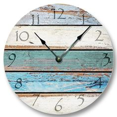 Amazon.com - Weathered Beachy Boards wall CLOCK - ocean colors old paint boards pattern - shabby beach wall home decor -