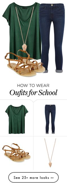 """Survived 4th day of school!!"" by anappleadaykeepsfashionuptodate on Polyvore featuring H&M, Frame Denim, Pamela Love and Accessorize"