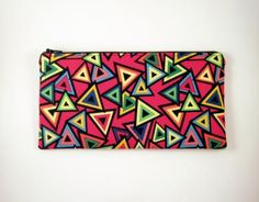 Red Zipper Pouch, Make Up Bag, Gadget Pouch by HahnStitched for $12