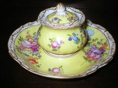 ANTIQUE DRESDEN FLORAL INK WELL & STAND 19c