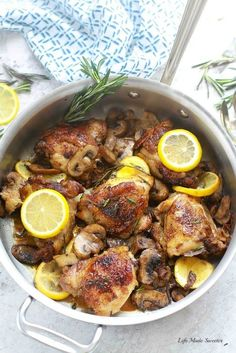 Skillet Rosemary Lemon Chicken cooked entirely in one pan makes the perfect quick & easy dinner! Best of all, cooks up tender & a hit with the entire family
