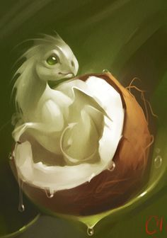 "Fruit Dragons, les créatures ""fantasy"" de GaudiBuendia : coconut"