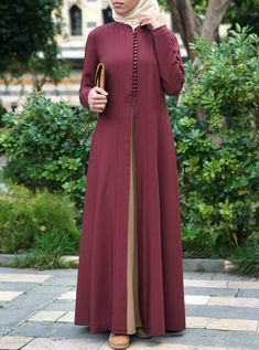 Contrast Godet Panel Abaya - Real Time - Diet, Exercise, Fitness, Finance You for Healthy articles ideas Islamic Fashion, Muslim Fashion, Modest Fashion, Fashion Dresses, Girl Fashion, Mode Abaya, Mode Hijab, Hijab Style Dress, Abaya Style
