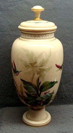 Antique Bohemian Harrach Opaline Glass Lidded Urn With Enamel Painted Hummingbirds