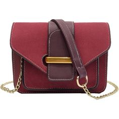 SheIn(sheinside) Two Tone Shoulder Chain Bag (42 PEN) ❤ liked on Polyvore featuring bags, handbags, shoulder bags, burgundy, suede purse, chain handbags, burgundy purses, red handbags and red purse