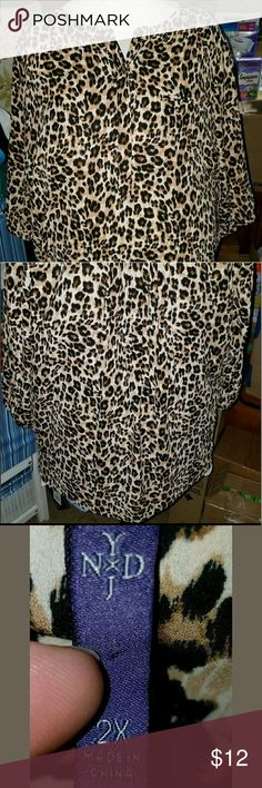 """N. Y. D. J. Plus size 2x top N.Y.D.J.? Leppard Sheer Top? Plus Size 2x?  Pre owned, good condition?  My mannequin measurements:? Bust 44""""? Waist 52""""? Hips 50""""?  So you know what it looks like on and the fit on a chubby girl.? N.Y.D.J.  Tops Blouses"""