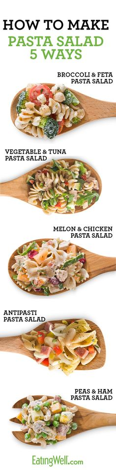 1. Choose & Cook Pasta 2. Load Up on Veggies 3. Add Lean Protein 4. Add Ingredients to Boost Flavor 5. Use a Lightened Pasta Salad Dressing