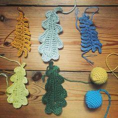 Autumnal crochet bunting begins #autumn #handmade #bunting #crochet #leaves
