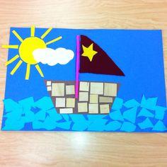 Kindergarten Boat Collage- Elementary Art