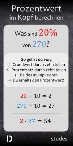 Wenn du mit der Formel aus der Schule den reduzierten Brötchenpreis im Supermarkt berechnen willst ... also ich wäre da überfordert. Dabei gibt es eine viel einfachere Variante, den #Prozentwert im Kopf zu berechnen. Dazu musst du nur #Grundwert und #Prozentsatz durch 10 teilen und miteinander multiplizieren. Das Ergebnis ist der Prozentwert!