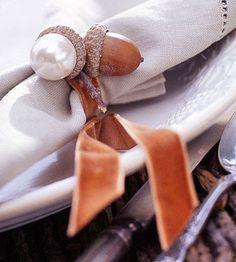 beautiful napkin rings... velvet ribbon and jeweled acorns