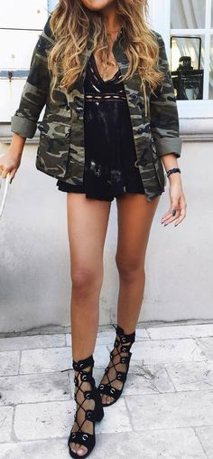 cool street style outfit khaki jacket + top + shorts