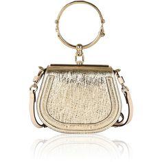 Chloé Small Nile Bag In Metallic Gold Lambskin And Suede Calfskin (48 620 UAH) ❤ liked on Polyvore featuring bags, handbags, chloe purse, white purse, lambskin leather handbags, suede handbags and suede purse #handbagsandpurses
