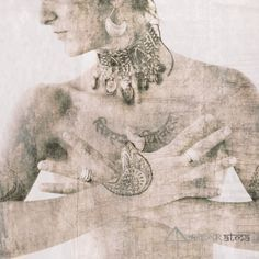 Sacred woman holding her hands in a protective, power yoga mudra - Keher Kaur