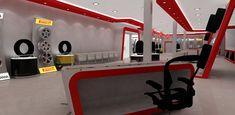 Automotive tyre showroom concept on Behance Tyre Shop, Pop Design, Store Design, Showroom, Concept, F1, Behance, Automotive Decor, Cars