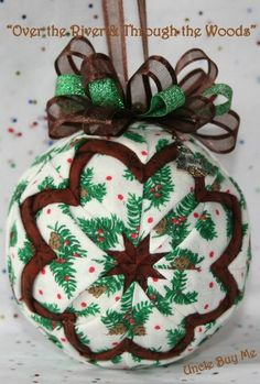 Quilted Ornaments Quilt Ball Ornaments Pinecones by unclebuyme. I like this for a more natural, rustic look. Quilted Fabric Ornaments, Quilted Christmas Ornaments, Christmas Sewing, Handmade Christmas, Christmas Decorations, Christmas Balls, Handmade Ornaments, Holiday Crafts, Ball Ornaments