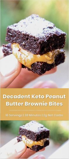 When it's snack time, but you're craving an indulgent dessert. make a batch of these keto peanut butter brownie bites. These brownies taste just like the real thing. Peanut butter makes them extra-delicious. Low Carb Chocolate, Sugar Free Chocolate, Chocolate Recipes, Low Carb Desserts, Low Carb Recipes, Almond Butter Keto, Peanut Butter Brownies, Best Brownies, Brownie Bites