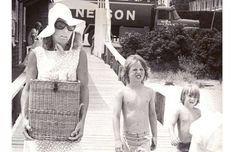 Ethel Kennedy & children after a day of sailing in Hyannis Port at Kennedy Compound Pier.