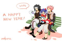Happy New Year from the Fairy Tail Dragonslayers Gajevy, Gruvia, Fairy Tail Dragon Slayer, Noragami, Me Me Me Anime, Tokyo Ghoul, Marvel, Happy, Fictional Characters