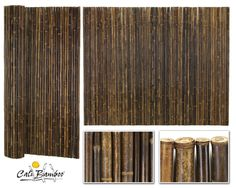 Black Bamboo Fencing Roll: One Inch Diameter Detail