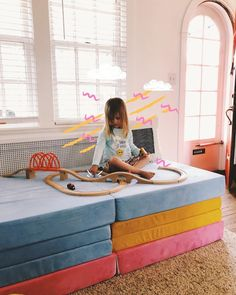 Who needs a train table when you have a Nugget? Train Table, Stay On Track, Kids Room, Colorful, Play, Furniture, Instagram, Home Decor, Decoration Home