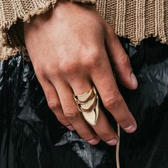 The Alias is marked by two arching bands and an elongated point that stretches over the top of the finger, giving the piece an acute, alien-like appearance. Stretches, Finger, Bands, Rings For Men, Photos, Top, Style, Swag, Men Rings