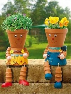 I love this!  Ha! Flower pots ~ gardening ideas ~ outdoor decorating