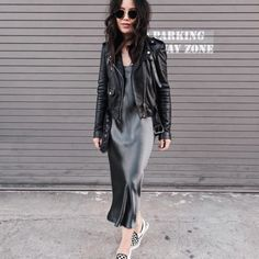 Stitch Fix Stylist: This silky slip dress is beautiful, especially paired with leather Celebrity Outfits, Edgy Outfits, Cute Outfits, Fashion Outfits, Free People Leather Jacket, Stitch Fix Outfits, Fashion Books, Womens Fashion, Fashion Trends