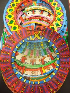 African Necklaces (made from Paper Plates)= for Thinking Day African Art For Kids, African Art Projects, African Crafts Kids, Tribu Masai, Musical Rey Leon, Costume Africain, 2nd Grade Art, African Necklace, Art Africain