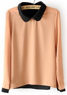 Pink long sleeve back buttons chiffon blouse.