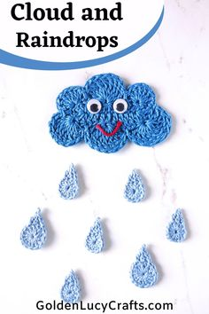 Learn how to crochet these clouds and raindrops applique. Free crochet pattern, will look great on pillows and blankets, you can use them to embellish children's clothes, or glue them on canvas and create beautiful wall decor for a nursery or kids' room. Crochet Escargot, Crochet Snail, Crochet Mignon, Crochet Diy, Crochet Bear, Crochet Crafts, Crochet Animals, Crochet Applique Patterns Free, Crochet Motifs