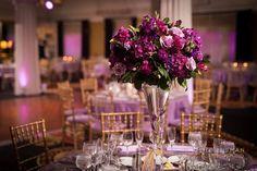 Loving this amazing #reception with purple #uplighting! Photo via #moshezusmanphotographystudio