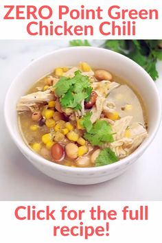 Easy to make packed with flavor filling! Packed with chicken breast beans corn and uses store-bought green salsa to make a super delicious and spicy broth. Make it in your slow cooker Instant Pot or stovetop. Ww Recipes, Cooker Recipes, Soup Recipes, Chicken Recipes, Healthy Recipes, Detox Recipes, Protein Recipes, Free Recipes, Dessert Recipes